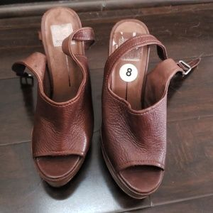 Italian leather wedge sandals
